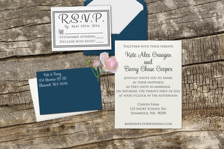 Wedding Invitation Rubber Stamps: DIY Wedding Invitation Rubber Stamp Set With Invitation RSVP