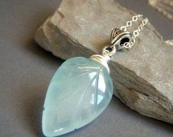 Aqua Chalcedony Necklace, Sterling Silver, Carved Etched Leaves Leaf Pendant Gemstone Briolette, Leaf Pendant Necklace, Gemstone Jewelry