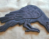 Ceramic  Standing Raven wall hanging for home or garden