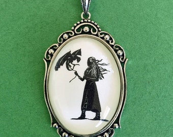 Sale 20% Off // Game of Thrones Khaleesi Necklace - pendant on chain - Silhouette Jewelry // Coupon Code SALE20
