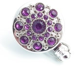 Magnetic Retractable ID Badge Dark Purple Rhinestone Button on Chrome Badge Reel