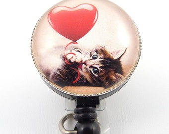 ID Badge Holder - Cute Kitten with Heart Photo Glass on Badge Reel - Name Badge Holder 261