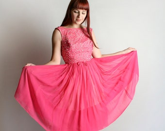 Vintage 1960s Chiffon Party Dress - Hot Pink Sequined Sheer Cocktail Dress - Small