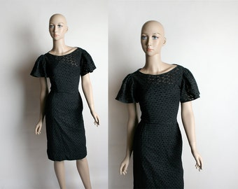 Vintage 1950s Wiggle Dress - Black Eyelet Jerry Gilden Flutter Sleeve Hourglass Bombshell Party Dress - Small