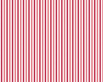 SALE Fabric, Red fabric, Christmas Fabric, Merry Matryoshka Cotton Fabric, by Riley Blake - Matryoshka Stripe in Red, Choose the Cut