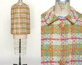 Vintage Cape --- 1960s Plaid Tweed Cape