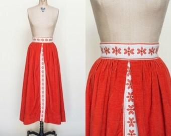 1960s Maxi Skirt --- Vintage Orange Corduroy Skirt