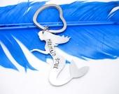 Personalized Keychain -Mermaid Soul - Custom Keychain - Handstamped Keychain - Aluminum Keychain - Silver Keychain