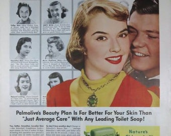 Palmolive Romance Couple Schoolgirl Complexion Powder Room Wall Art Decor E121