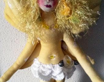 Enchanting OOAK fiber sculpted fairy art doll wall accent