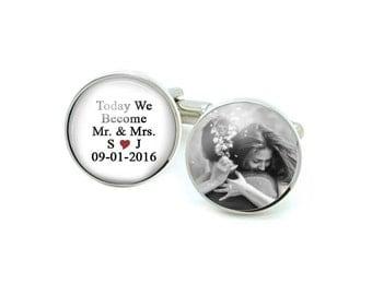 Mr Mrs Personalized Cufflinks, Wedding Gift, groom cufflinks, wedding gifts, gift for men, photo Picture cuff links