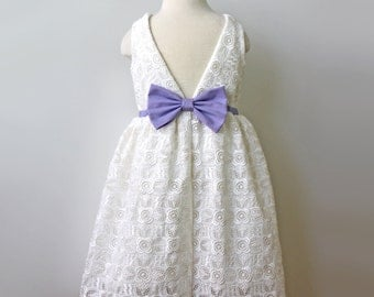 Venise Lace Dress for Toddler and Girl, ivory and lavender, Easter or Flower Girl