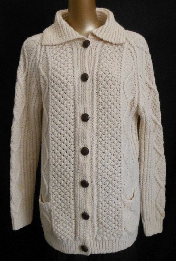 ... Wool Cardigan by Old Galway Ireland, Cream Off White, Size S to M