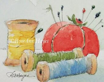 Vintage Pincushion Original Painting Watercolor Pin Cushion Sewing Notions ACEO Gift