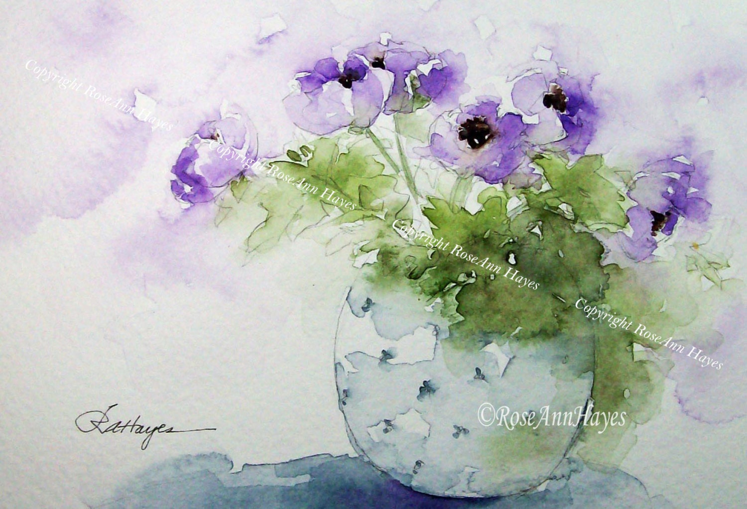 Purple Flowers in Blue Vase Print of Watercolor Painting