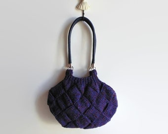 Marl Purple Wool Chunky Knit Bag, Hobo Shoulder Boho Bag, Hand Knitted Shoulder Purse, Medium, Tote Bag, Winter Accessories, Gifts for Her