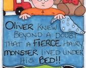 "Original Illustration - SFA - Folk Art - Cute Whimsical - 3"" x 4"" - Monster Under The Bed"