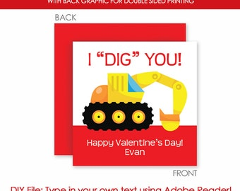 Printable Valentine Card - Valentine's Day . Class Valentine Construction Gift Tag - Instant Download - Printable DIY - editable text