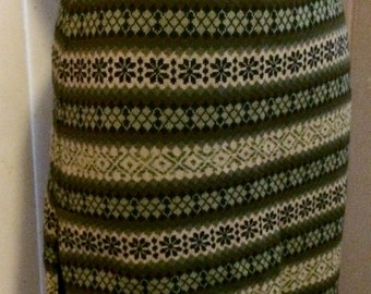 Vintage Jean Paul Gautier Wool Knit Skirt Green Stripe Argyle Style Made in Italy Size S/M