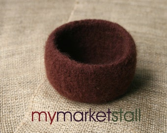 Roasted Coffee Felted Bowl - Ready-to-Ship