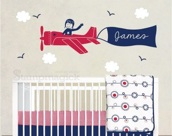 Airplane Wall Decal Sticker for Nursery Baby Boy Room - flying plane vinyl wall art custom name banner - K037