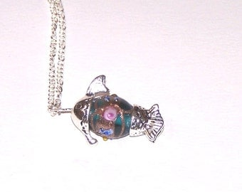 lampwork glass bead fish pendant