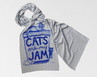 Cat Lover Scarf :  valentines day gift for cat lover, gift for women, cat lady gift, jersey scarf, gift for her, cat art
