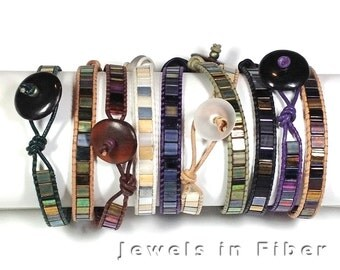 Leather Wrap Bracelets with Tila Beads -  DIY Kit - Wrap Bracelets Kit - Leather & Beads Bracelets - Tila Beads - Leather and Beads Bracelet