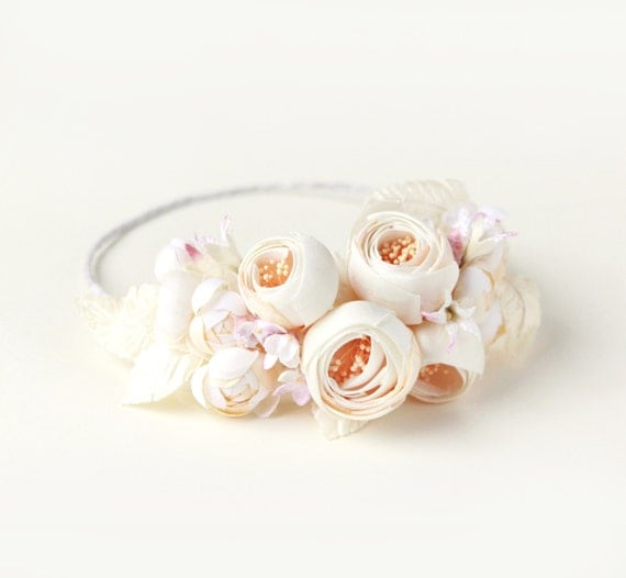 Ivory flower crown, bridal hair wreath, Off white bridal crown, Floral circlet, Whimsical wedding accessory, Ivory rose crown, pink flowers
