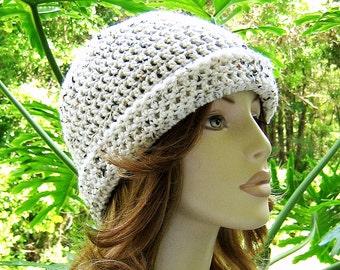 BEANIE Cloche IVORY TWEED Crochet Hat  //  Womens Cuff Brim Hat  //  Womens Accessories  //  Winter Skull Cap Ski Hat ...  Ready-to-Ship