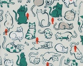 Cotton + Steel Schmitties Teal Cat Lady  100% Cotton Fabric