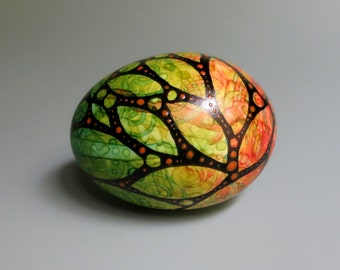 Hand Painted Egg Early Autumn Leaves, Nature Art
