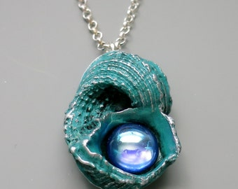 Seashell Pendant Necklace, Polymer Clay with Vintage Sapphire Cabochon