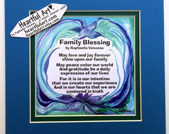 FAMILY BLESSING 8x8 Original Poetry Spiritual Meditation Inspirational Quote Home Decor House Blessing Heartful Art by Raphaella Vaisseau