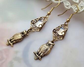 Moonlit owl earrings, glass opal earrings,  Art Nouveau filigree dangle earrings, drop earrings, vintage style jewelry, woodland jewelry