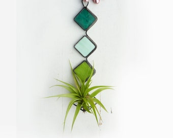 Stained Glass Air Plant Holder -   Mod Trio with Mint, Teal, and Lime
