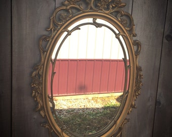 Vintage Ornate Homco/Home Interior Gold Painted Motif Hard Resin Frame Mirror