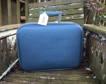 Vintage Trojan Brand Blue Case Small Suitcase/Overnight Case Luggage