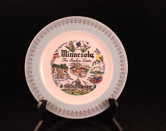 Vintage Minnesota Souvenir State Plate with Blue and Gold Trim