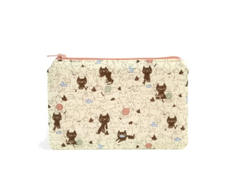 Cats and Kittens Zipper Pouch / Kawaii Makeup Bag in Kitties on top of Kitties