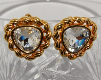 Vintage Clip On Earrings, Elegant Swarovski Crystal Gold Tone Clip On Earrings Wedding Bridal, Hallmark S.A.L.