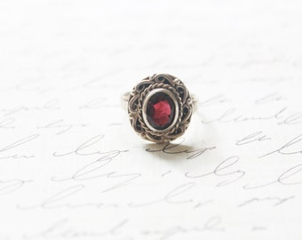 The Ann- Margret Ring • Antique 1930s Garnet Ring • Vintage 30s Sterling Silver Ring • Wedding Antique Fine Jewelry Engagement Promise Ring