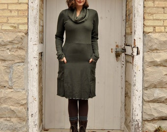 Bamboo Fleece Pocket Dress, Cozy Cowl Dress, Made to Order by Yana Dee