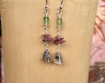 SALE Tourmaline Peridot and Herkimer Diamond Crystal Earrings
