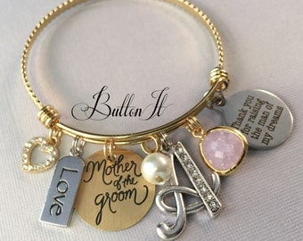 Mother of the GROOM gift, GOLD bangle bracelet, Mother in law, charm bracelet, Thank you for raising the man of my dreams, Initial jewelry
