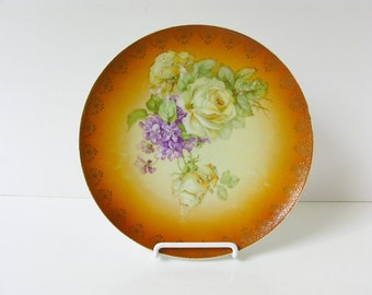"Roses Violets China Plate 8-1/2"" Vintage Autumn Thanksgiving Colors Rust Gold Green Gold Trim German Bavarian Style Shabby Chic Cottage"
