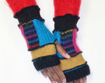 Fingerless Gloves,Upcycled Handwarmers (Black/Gold/Patched Turquoise,Raspberry,Multicolored Stripe/Black/Red)