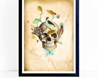 Halloween print, gothic, skull, nature, woodland, forest inspired with birds nest, A4 giclee