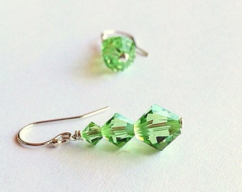 crystal anniversary gift - August birthday gift - 3 year anniversary -15th anniversary - crystal earrings - crystal jewelry - green earrings