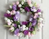 Spring silk flower Lilac Tulip wreath for front door, Mother's Day flowers, wreathe, front door decoration, spring wreath, Summer Wreath